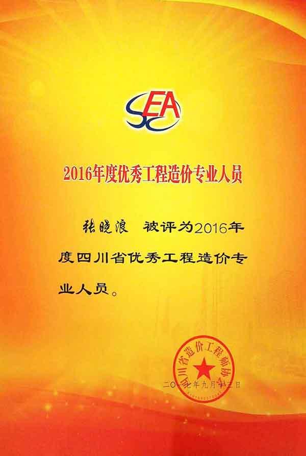 2016年度优秀造价专业人员